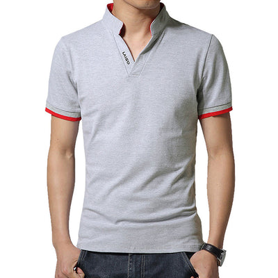 Men's Long Sleeve Polo Short Gray / 5XL - Men Tops & Tees | MegaMallExpress.com
