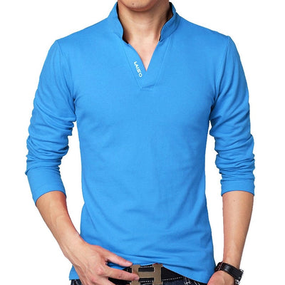 Men's Long Sleeve Polo Long Blue / 5XL - Men Tops & Tees | MegaMallExpress.com