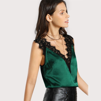 Women V Neck Satin Tank Top With Lace Trim  - Women Tops & Tees | MegaMallExpress.com