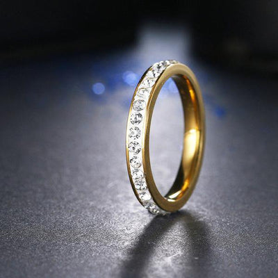 Small CZ Ring 8 / Gold - Formal Rings | MegaMallExpress.com