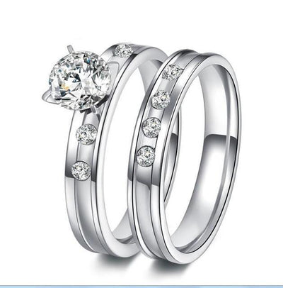 Stainless Steel Wedding Ring Set Silver / 9 - Wedding & Engagement | MegaMallExpress.com