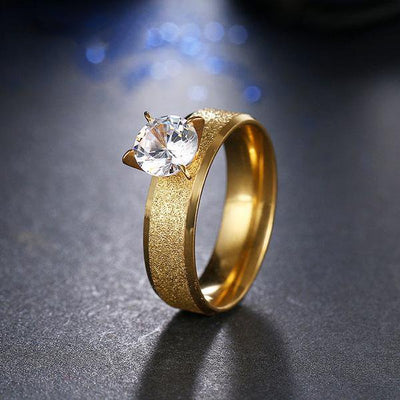 Trendy CZ Ring 11 / Gold - Wedding & Engagement | MegaMallExpress.com