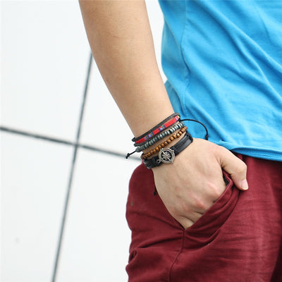 Bead Leather Bangle  - Bracelets & Bangles | MegaMallExpress.com
