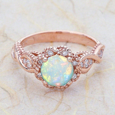 Opal Ring 10 / R50 Gold Color - Formal Rings | MegaMallExpress.com