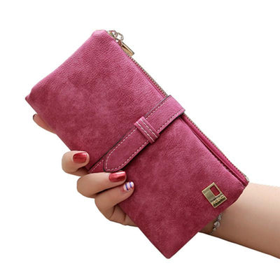 Women Long Card Holder Clutch RoseRed - Women Wallets | MegaMallExpress.com