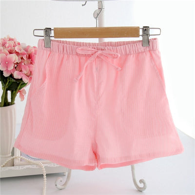 Women Cotton Shorts Pajama Fine stripes pink / M - Women Intimates | MegaMallExpress.com