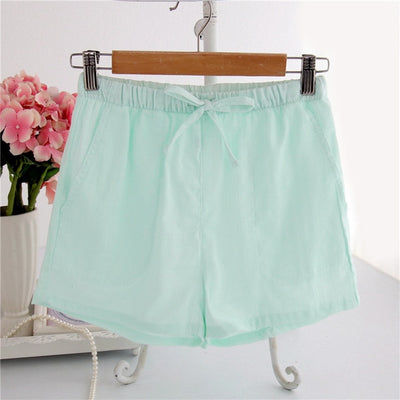 Women Cotton Shorts Pajama Fine stripes green / M - Women Intimates | MegaMallExpress.com