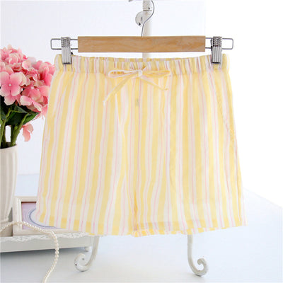 Women Cotton Shorts Pajama yellow S stripe / XL - Women Intimates | MegaMallExpress.com
