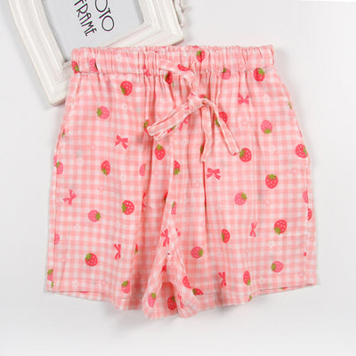 Women Cotton Shorts Pajama Pink strawberry / XL - Women Intimates | MegaMallExpress.com