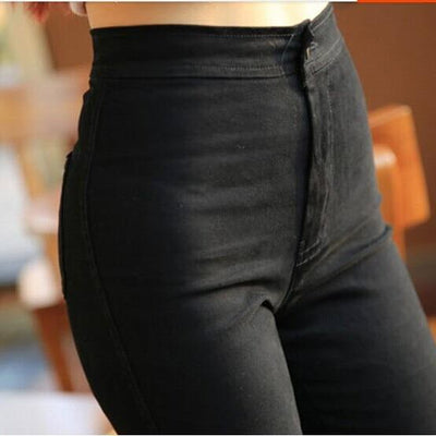Women High Waist Jeans black / XS - Women Bottoms | MegaMallExpress.com
