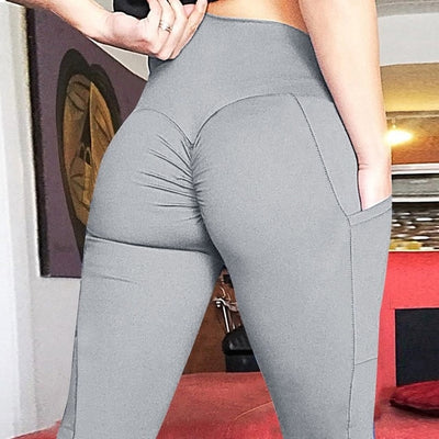 Women High Waisted Leggings with Pockets Pocket Gray / XL - Women Bottoms | MegaMallExpress.com