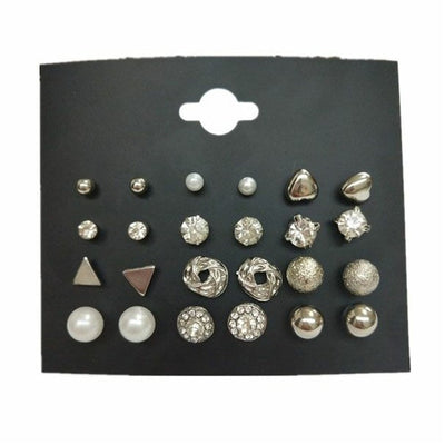 Square Crystal Heart Stud Earrings Black/Silver - Earrings | MegaMallExpress.com