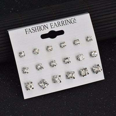 Square Crystal Heart Stud Earrings White E953E958 - Earrings | MegaMallExpress.com