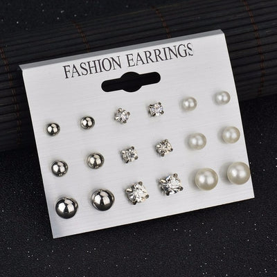 Square Crystal Heart Stud Earrings White E953E960 - Earrings | MegaMallExpress.com
