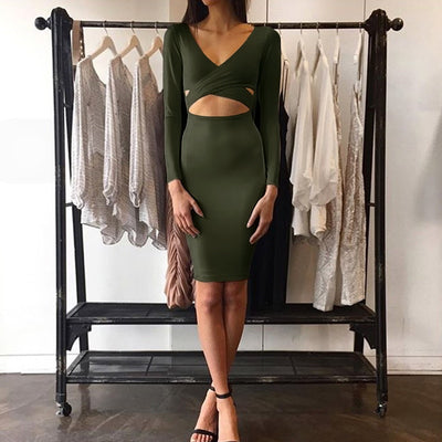Women Bodycon Bandage Below the Knee Dress  - Women Dresses | MegaMallExpress.com