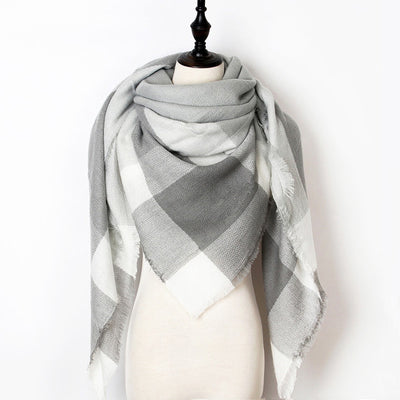Women Plaid Scarf Gray 4 - Women Socks & More | MegaMallExpress.com