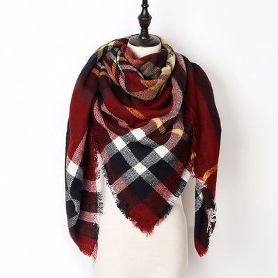 Women Plaid Scarf Red 5 - Women Socks & More | MegaMallExpress.com