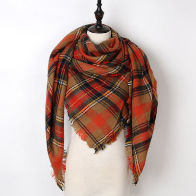 Women Plaid Scarf Red 6 - Women Socks & More | MegaMallExpress.com