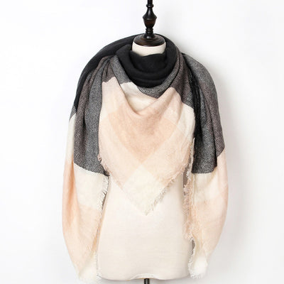 Women Plaid Scarf Pink 7 - Women Socks & More | MegaMallExpress.com
