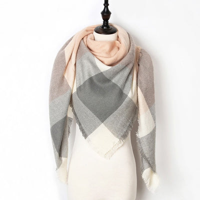 Women Plaid Scarf Gray 8 - Women Socks & More | MegaMallExpress.com