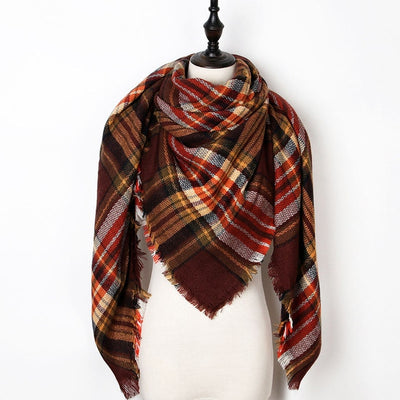 Women Plaid Scarf Red 9 - Women Socks & More | MegaMallExpress.com