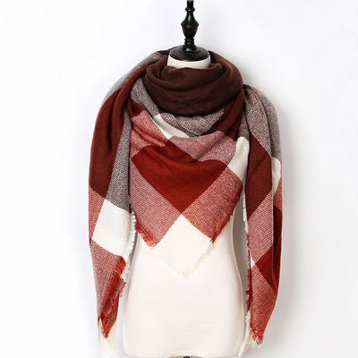 Women Plaid Scarf Red 10 - Women Socks & More | MegaMallExpress.com