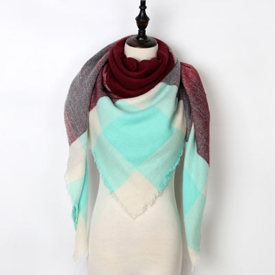 Women Plaid Scarf Blue 11 - Women Socks & More | MegaMallExpress.com