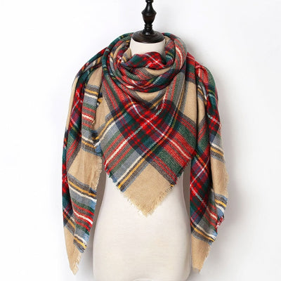 Women Plaid Scarf Red 13 - Women Socks & More | MegaMallExpress.com