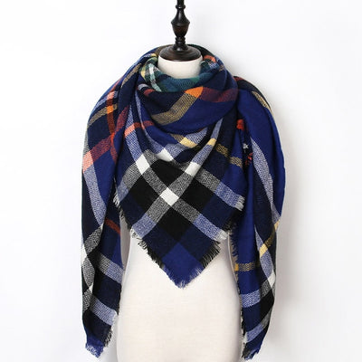Women Plaid Scarf Blue 14 - Women Socks & More | MegaMallExpress.com
