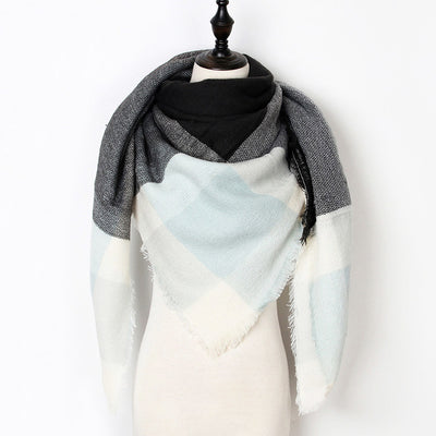 Women Plaid Scarf Gray 15 - Women Socks & More | MegaMallExpress.com