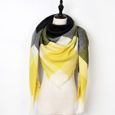 Women Plaid Scarf Yellow 16 - Women Socks & More | MegaMallExpress.com