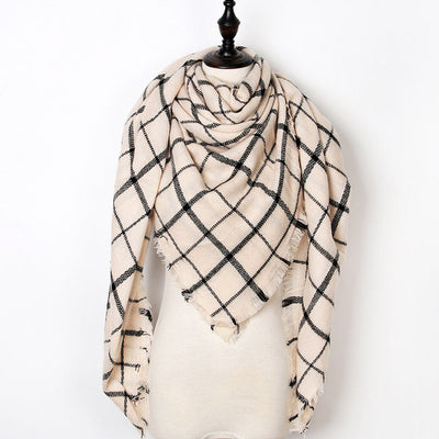 Women Plaid Scarf Brown 17 - Women Socks & More | MegaMallExpress.com