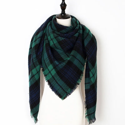 Women Plaid Scarf Irish Green 18 - Women Socks & More | MegaMallExpress.com