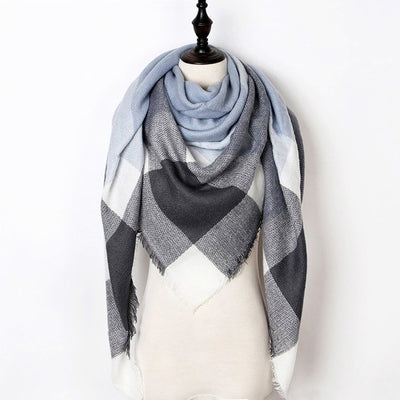 Women Plaid Scarf Gray 19 - Women Socks & More | MegaMallExpress.com