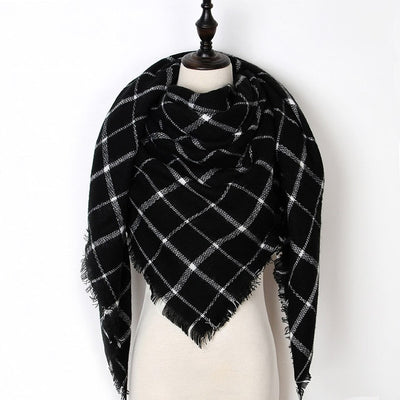 Women Plaid Scarf Black 20 - Women Socks & More | MegaMallExpress.com
