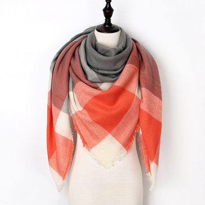 Women Plaid Scarf Orange 21 - Women Socks & More | MegaMallExpress.com