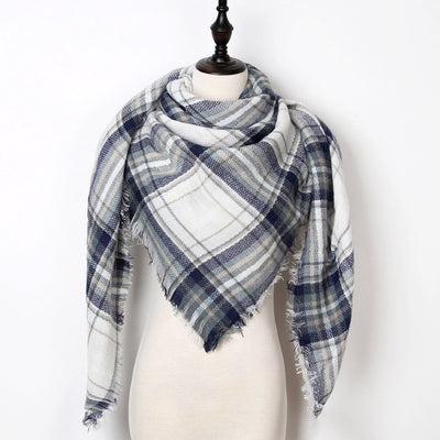 Women Plaid Scarf Gray 25 - Women Socks & More | MegaMallExpress.com