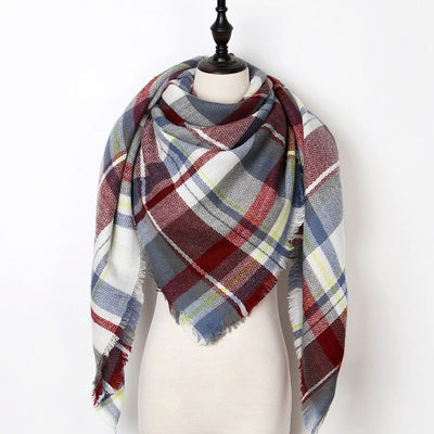 Women Plaid Scarf Red 26 - Women Socks & More | MegaMallExpress.com