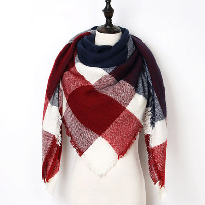 Women Plaid Scarf Red 27 - Women Socks & More | MegaMallExpress.com