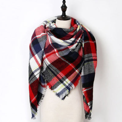 Women Plaid Scarf Red 29 - Women Socks & More | MegaMallExpress.com