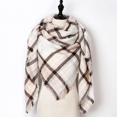 Women Plaid Scarf White 30 - Women Socks & More | MegaMallExpress.com