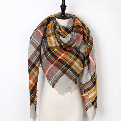 Women Plaid Scarf Red 32 - Women Socks & More | MegaMallExpress.com