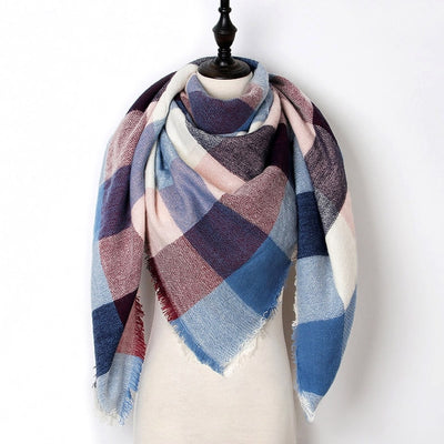 Women Plaid Scarf Blue 33 - Women Socks & More | MegaMallExpress.com