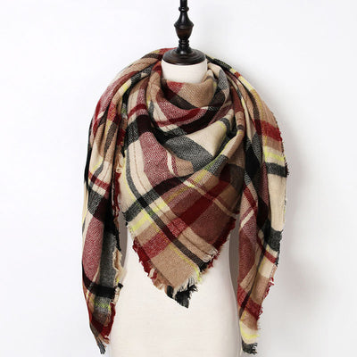 Women Plaid Scarf Red 34 - Women Socks & More | MegaMallExpress.com