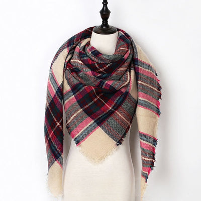 Women Plaid Scarf Red 35 - Women Socks & More | MegaMallExpress.com