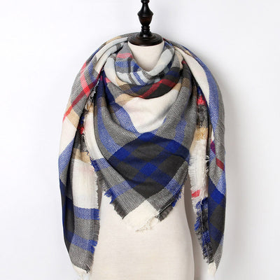 Women Plaid Scarf Blue 36 - Women Socks & More | MegaMallExpress.com