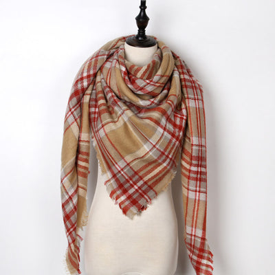 Women Plaid Scarf Red 37 - Women Socks & More | MegaMallExpress.com