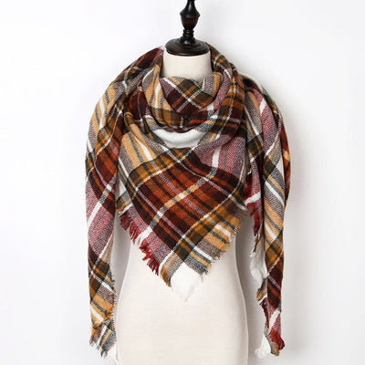 Women Plaid Scarf Red 38 - Women Socks & More | MegaMallExpress.com