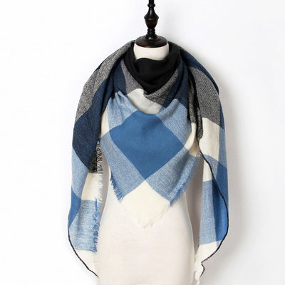 Women Plaid Scarf Blue 39 - Women Socks & More | MegaMallExpress.com