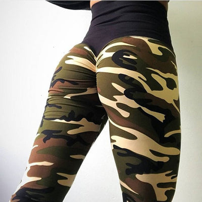 Camo Print Leggings Black / XS - Women Bottoms | MegaMallExpress.com